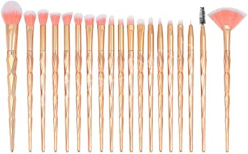 set de brochas para maquillaje 20-Pack Diamond Unicorn Beauty Brush, Mango dorado: Amazon.es: Belleza