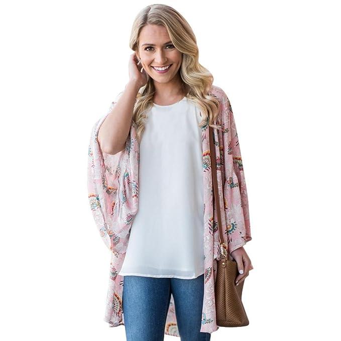 Toamen Cárdigan Kimono con Cuello Chal de Playa, Blusa con Estampado Floral de Mujer (