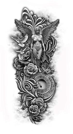 Reloj Tattoo Ángel y pulsera brazo tatuaje pegatinas KM185: Amazon ...
