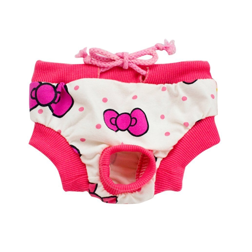 LUQUAN Washable Female Pet Dog Diaper Elastic Reusable Pants Pink