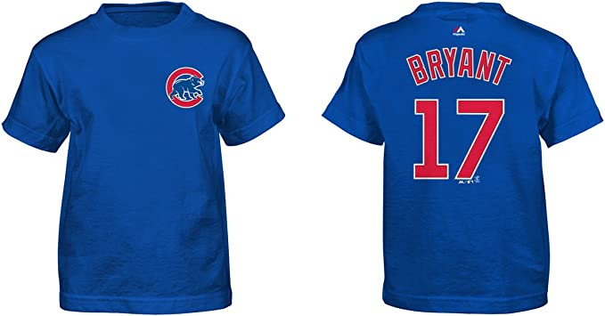 OuterStuff Anthony Rizzo Chicago Cubs MLB Majestic Boys Youth 8-20 Blue Official Player Name /& Number T-Shirt