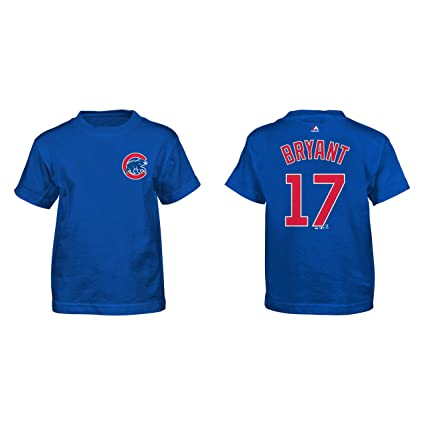Majestic Kris Bryant Chicago Cubs Blue Youth Name and Number Jersey T-Shirt  Small 8 b40bcfa94