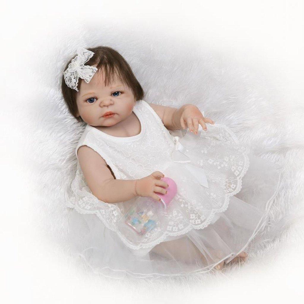 Npkdoll Baby Doll 55,9 cm de haut en vinyle 50–55 cm de vos vêtements Cute Girl avec de jolies Yeux ouverts Couverture Chapeau tétine aimantée toucher confortable 55Z-53GOFES