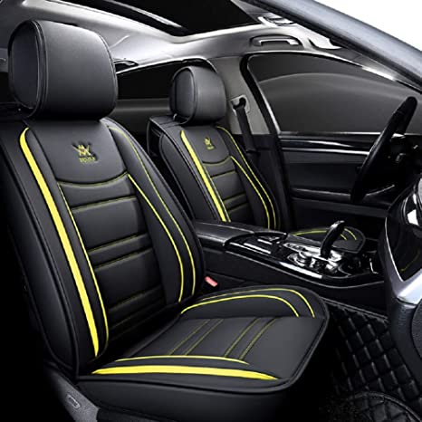 Stupendous Outs Luxury Leather Auto Car Seat Covers 5 Seats Full Set Universal Fit Black Yellow Lamtechconsult Wood Chair Design Ideas Lamtechconsultcom