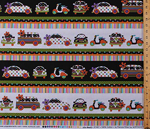 Cotton VW Bugs Beetles Motor Scooters Mopeds Classic Vans Cars Vehicles Flowers Polka Dots (4 Parallel Stripes) Urban Elements Retro Cotton Fabric Print by the Yard (21467-10-white)