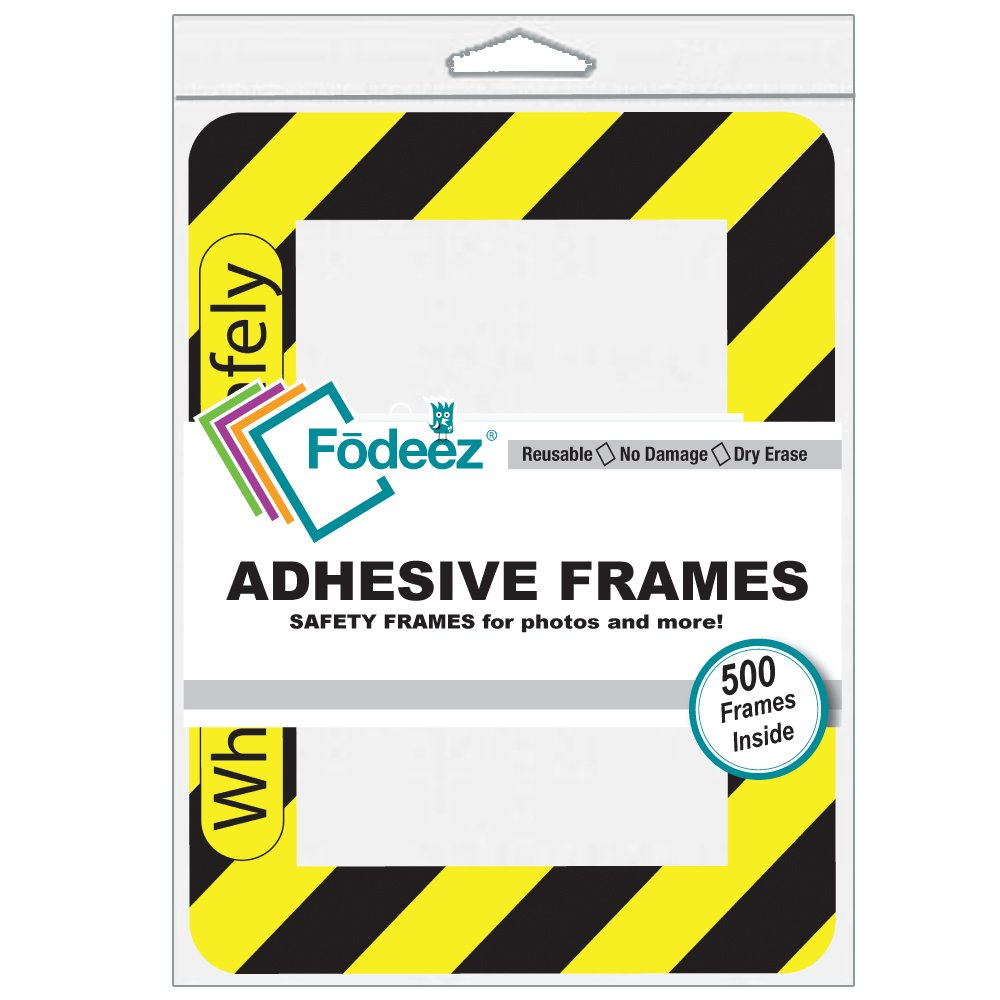 Fodeez Frames 4'' x 6'' Damage-free Adhesive Safety Display Frame, Black & Yellow (FF-46-100-WORKSAFE)