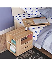 SogesGame Bedside Table with Drawer and Shelf Storage Nightstand Table Side Table End Table,CT1-OK-S8-CA