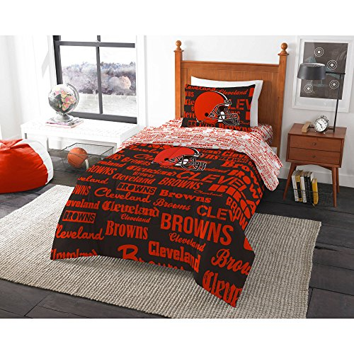 5 Piece NFL Browns Comforter With Sheets Full Set, Football Themed Bedding Sports Patterned, Team Logo Fan Merchandise Athletic Team Spirit Fan, White Burnt Orange, - Comforter Set Cleveland Browns