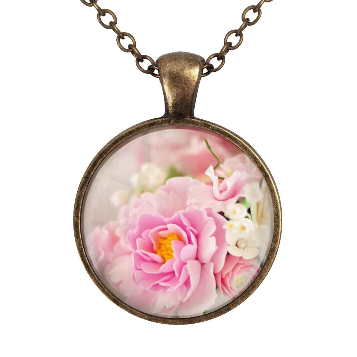 Lightrain Pink Art Flower Pendant Necklace Vintage Bronze Chain Statement Necklace Handmade Jewelry Gifts