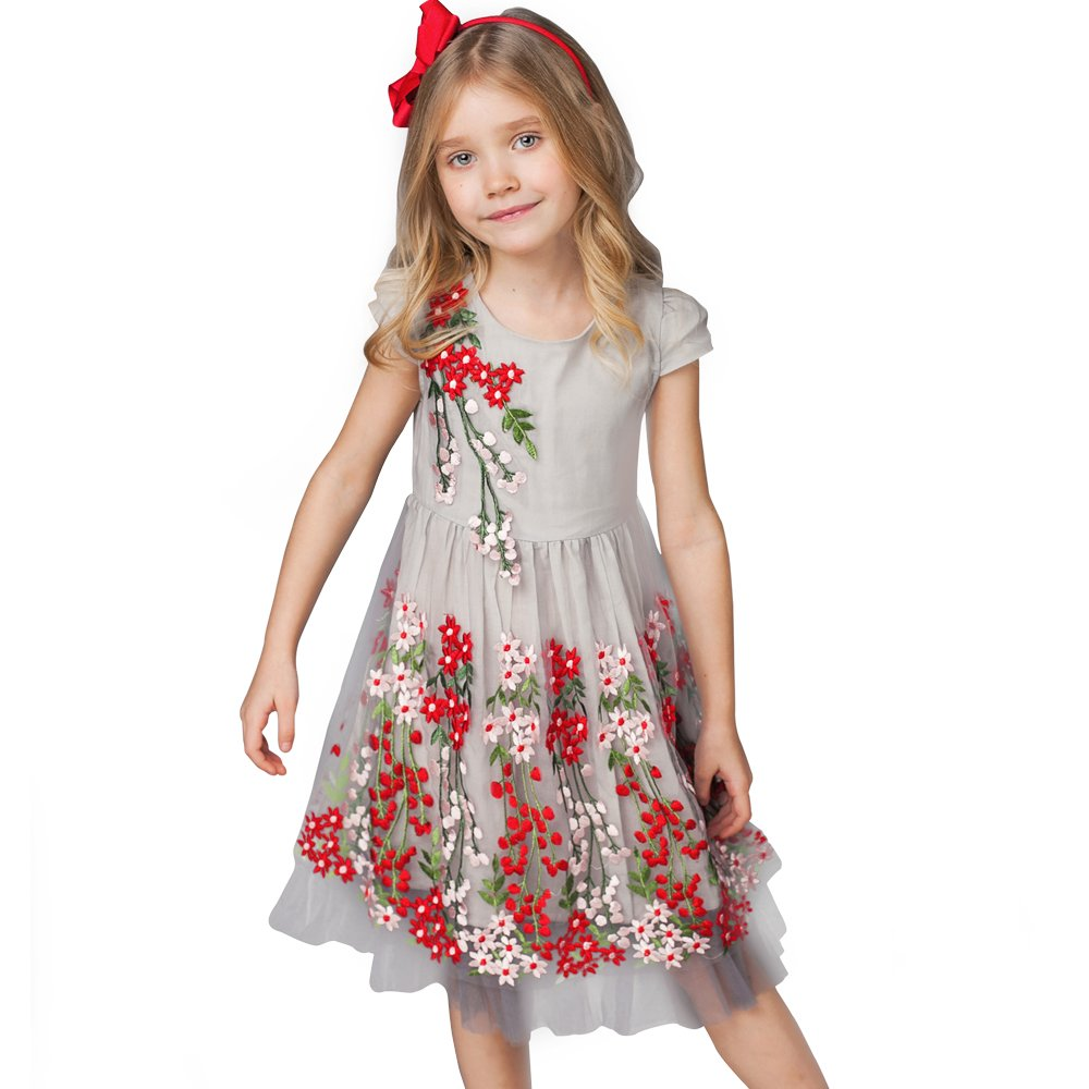Little Girl Flower Dress Party Princess Dress Sleeveless Cotton Lace Girl Dresses Size 2-8(26047 Gray4T)