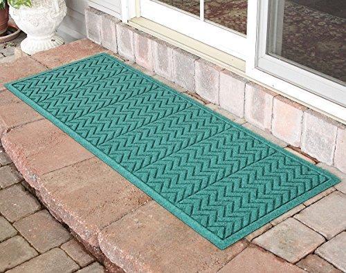 Bungalow Flooring Aqua Shield Chevron Runner, Aquamarine durable modeling
