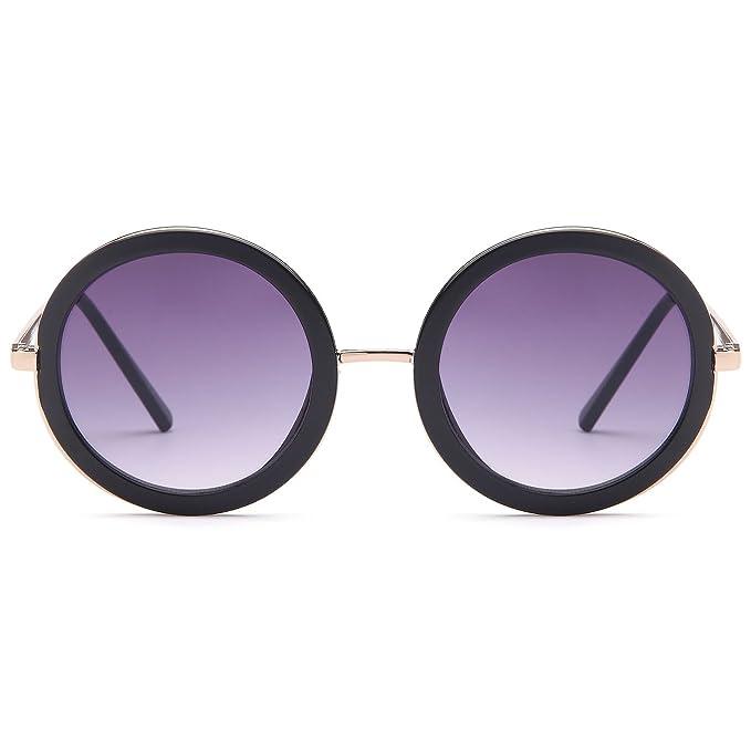 e34e16c8ed CATWALK Sun Lounger Series UV400 Womens Vintage Retro Round Sunglasses -  Gradient Purple Lens on Gold