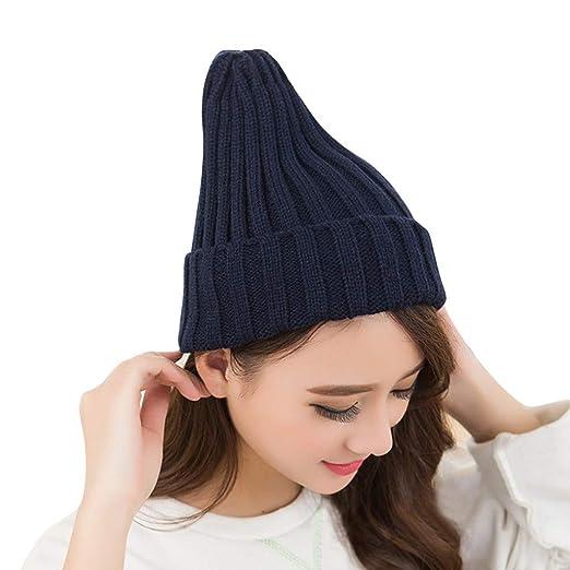 757e7df3a Women Winter Hats Wool Cuffed Plain Beanie Warm Knit Hats Unisex Men ...