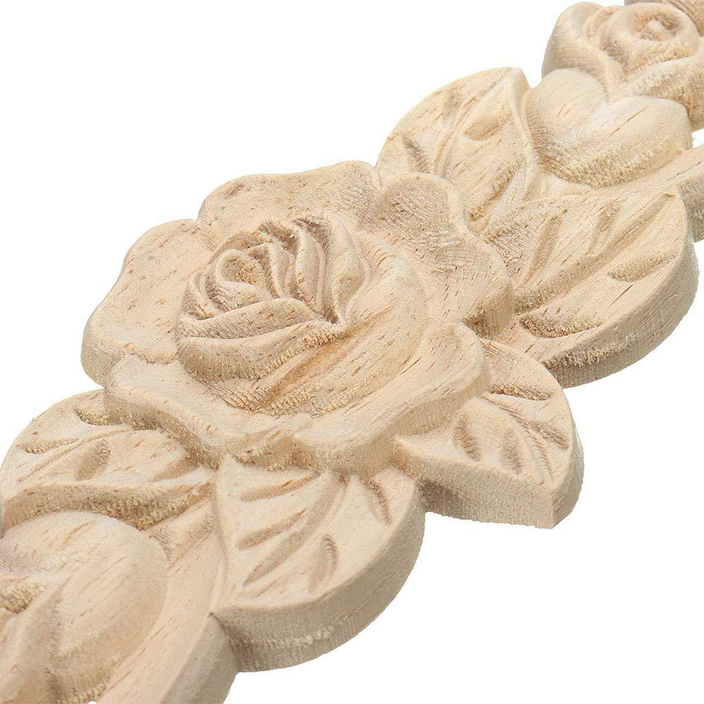 Amasawa Bois Sculpt/é dangle Grand Format Applique Style Europ/éen Porte Meubles Cabinet Mural De D/écoration Art Brut Naturel Cadre Applique 30 7cm 4 Morceaux De D/écalques De Bois De Rose