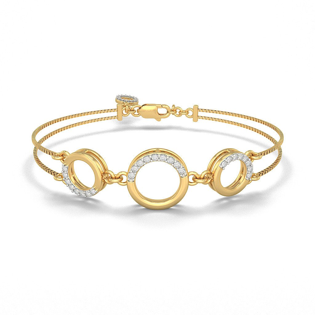 0.293 cttw Round-Cut-Diamond 18K Yellow Gold 9 inches IJ| SI identification-bracelets Size