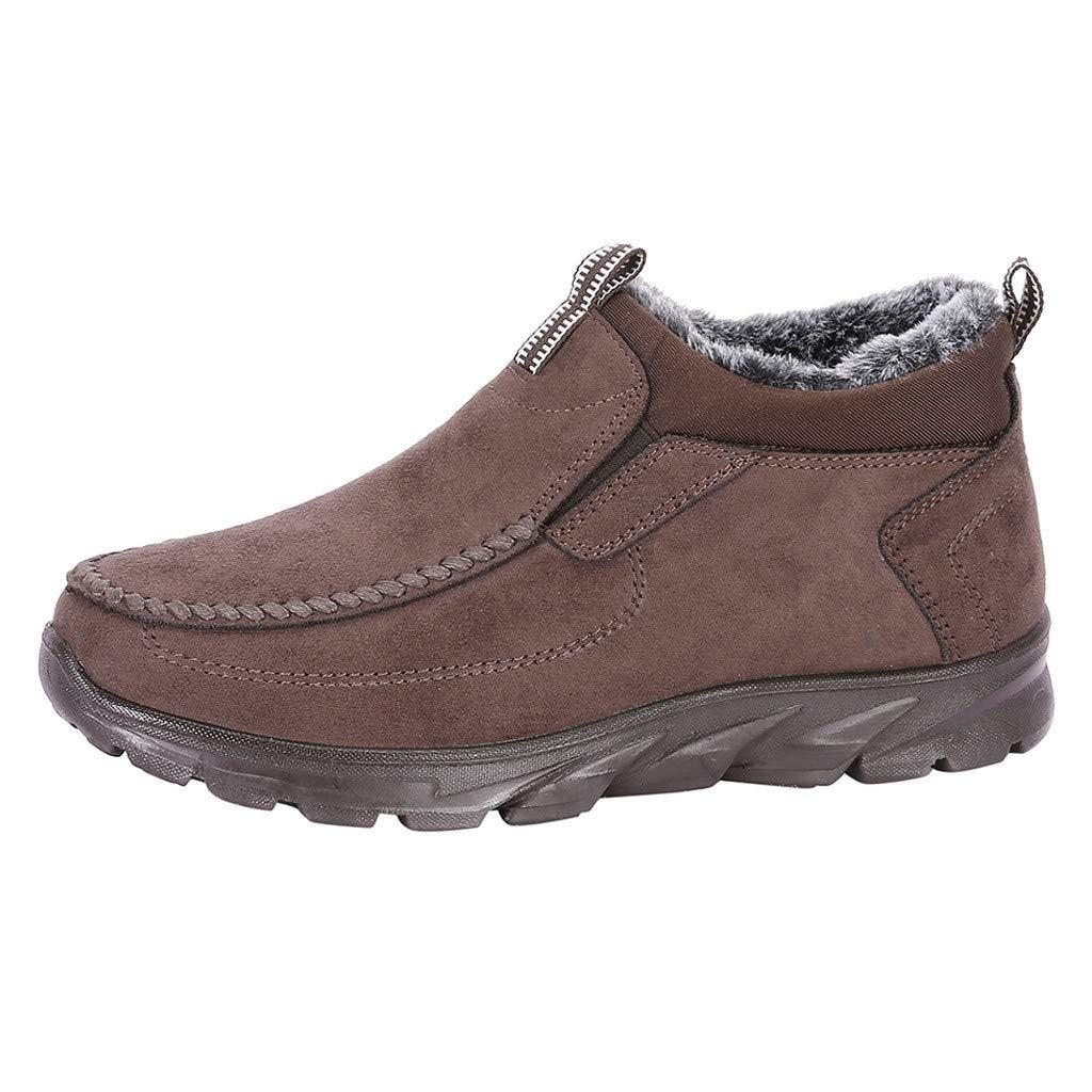 SSUPLYMY Herren Schneestiefel Dicker Boden Plus Fluff Stiefel Mode Slip-On Faule Schuhe Winter Warm Freizeitstiefel Bequem Low-Top Freizeitschuhe