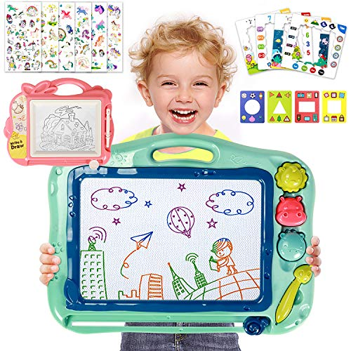 Toyssa Magnetic Drawing Board 16'' X 13'' with Unicorn Stickers stampes Drawing Doodle Board Erasable Writing Sketch Pad Travel Games Educational Toys for Kids ()