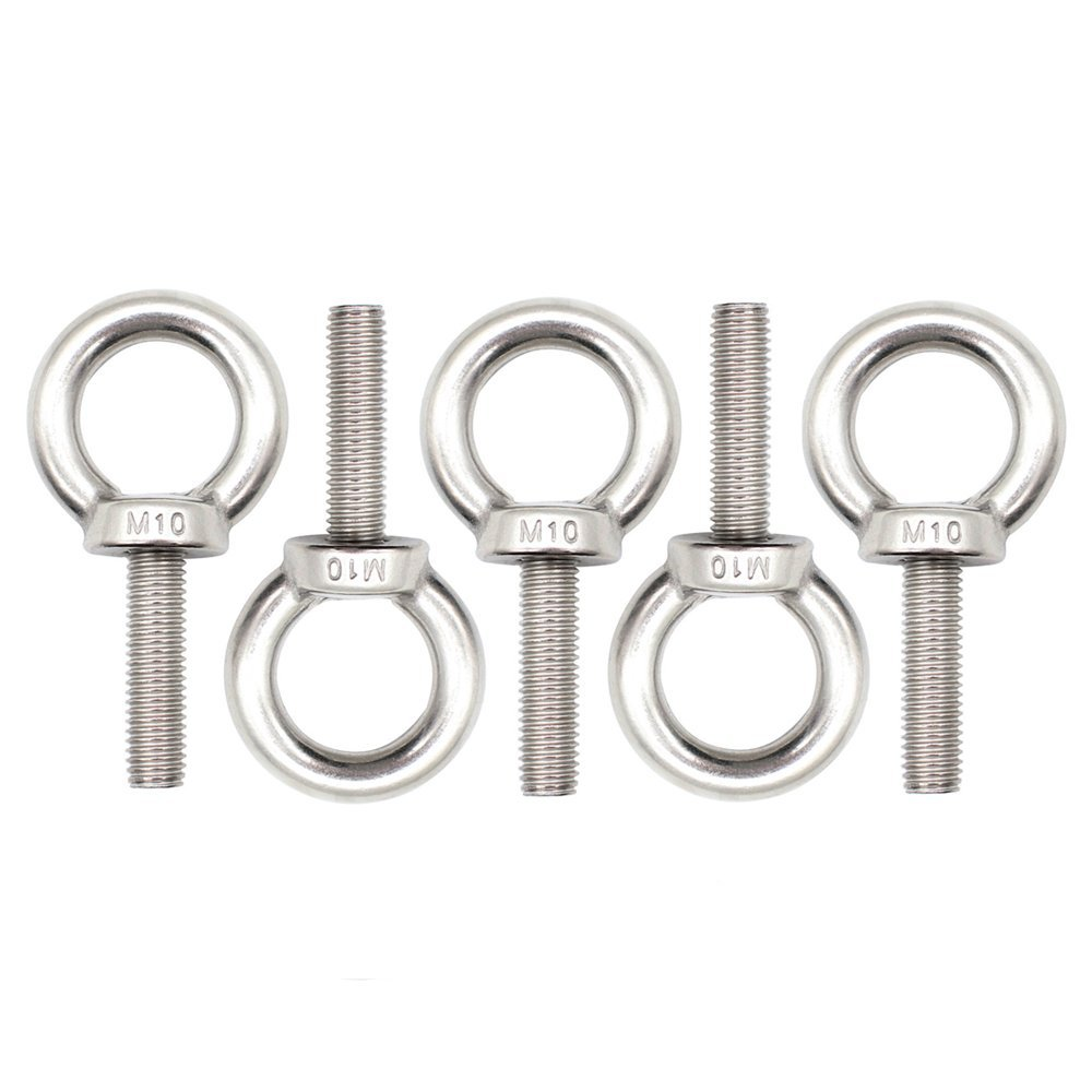 Eowpower 5Pcs Stainless Steel M10 x 35mm Ring Eye Bolt