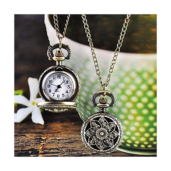 GlobalDealRetro Vintage Steampunk Quartz Necklace Carving Pendant Chain Clock Pocket Watch 4