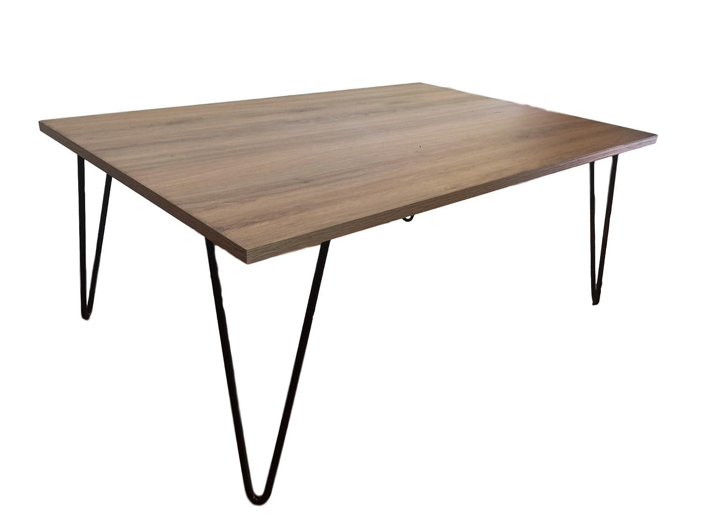 Mesita de centro para sala con patas de acero y superficie tipo nogal (90x50x35)