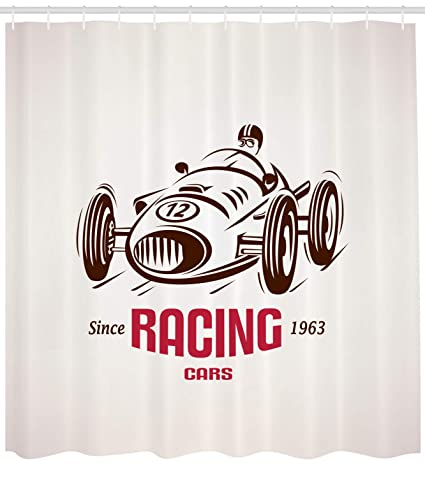 Ambesonne Cars Shower Curtain Retro Style Race Car Emblem Formula Automobile Icon Speed Competition