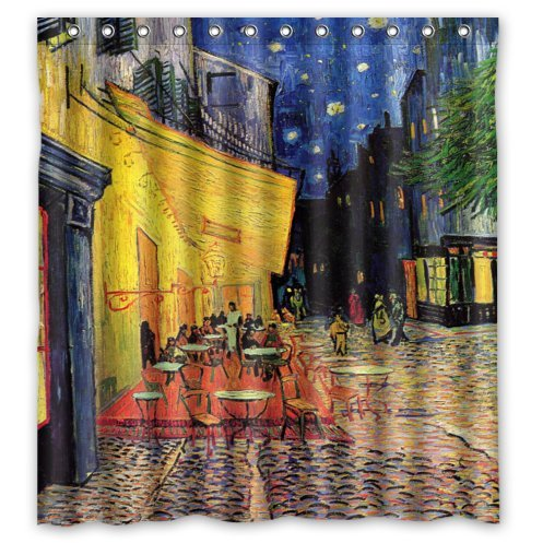 Special Design Cafe Terrace at Night by Vincent Van Gogh Waterproof Bathroom Fabric Shower Curtain,Bathroom decor 66