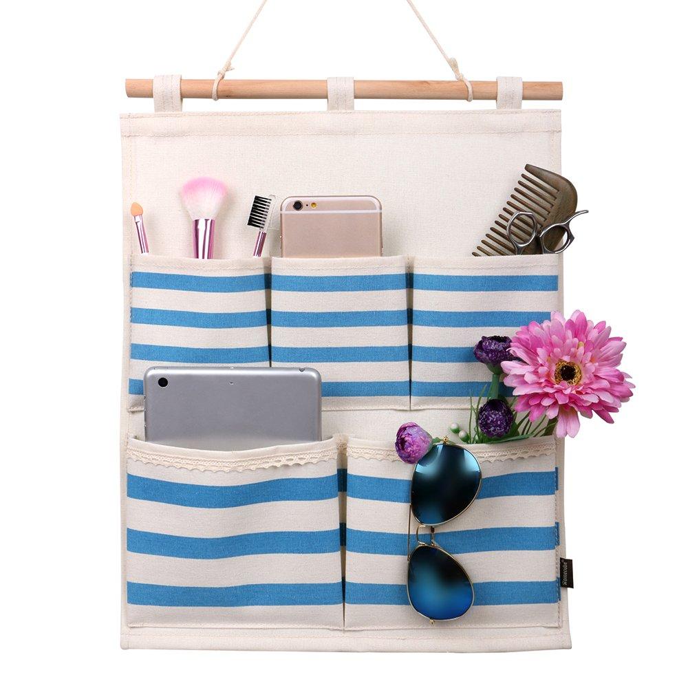 Homecube Linen Cotton Fabric 5 Pockets Wall Door Cloth Hanging Storage Bag Home Organizer (Navy Stripe) SYJJ062