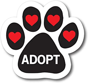 Magnet Me Up Adopt Pawprint Car Magnet Paw Print Auto Truck Decal Magnet