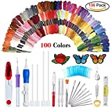 Magic Embroidery Pen Punch Needle,Embroidery Pen Set,Embroidery Patterns Punch Needle Kit Craft Tool,Including 100 Color Threads for DIY Threaders Sewing Knitting