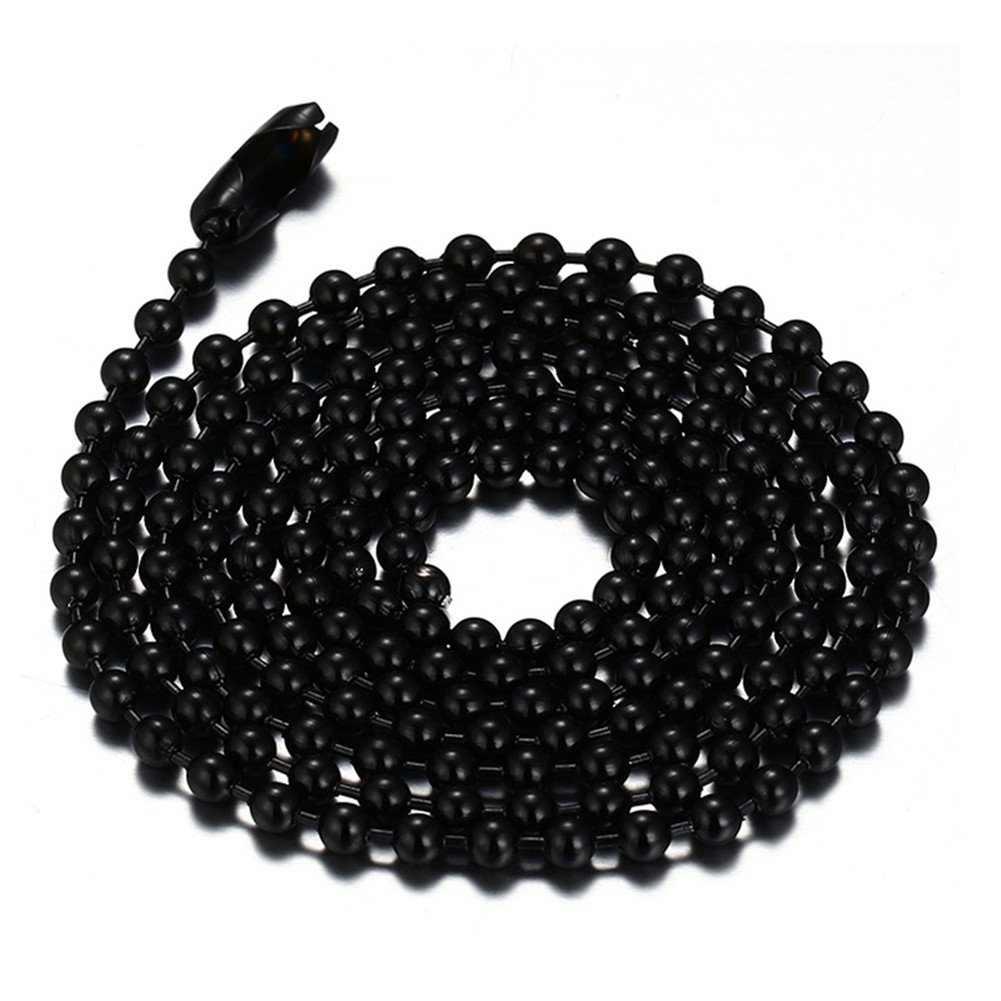 Titanium Stainless Steel Small Beads Ball Chain Necklace for Men Women 18-38 Inches Silver Black Gold