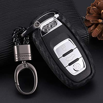 Royalfox(TM) soft silicone carbon fiber style smart keyless remote Key Fob case Cover For A3 S3 RS3 A4 S4 RS4 A5 S5 RS5 A6 S6 RS6 A7 S7 RS7 A8 S8 Q3 SQ3 Q5 SQ5 Q7 TT TTs TT keychain (for audi old key)