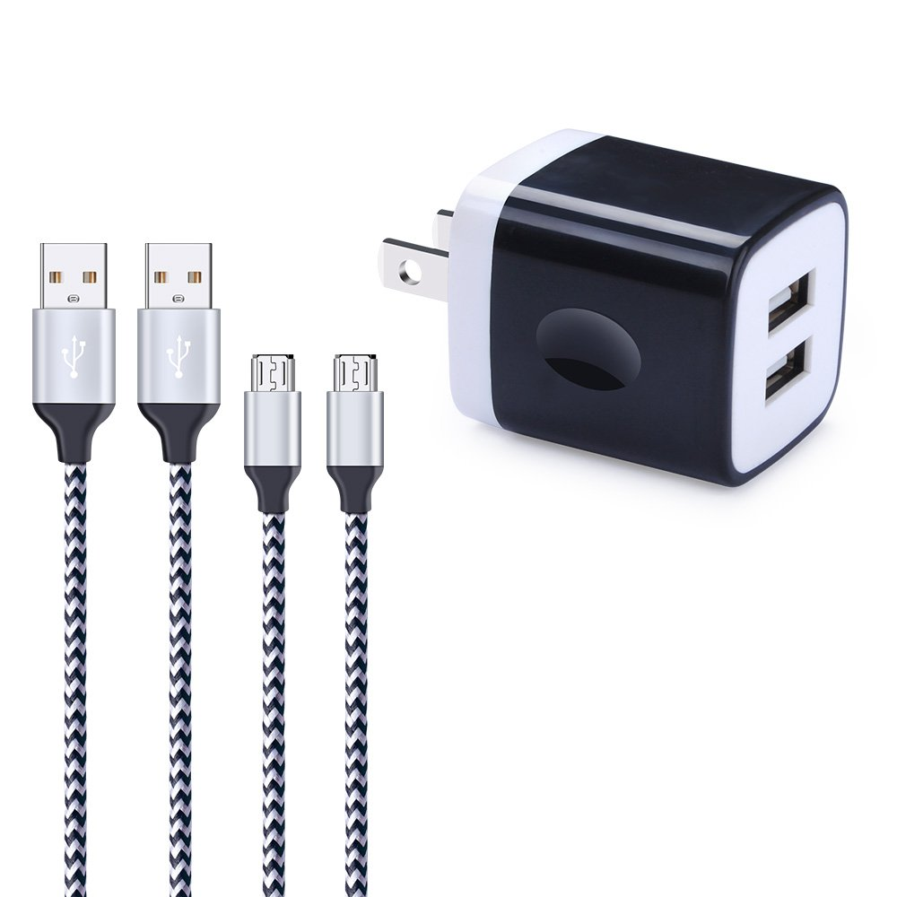Wall Charger, Charging Block, FiveBox 2.1A Dual Port Phone Charger Box Base USB Wall Charger Cube Brick Plug With 2-Pack 6ft Micro USB Cable Android Charger Cord For Samsung Galaxy S6/S7 Edge J3 J7 LG
