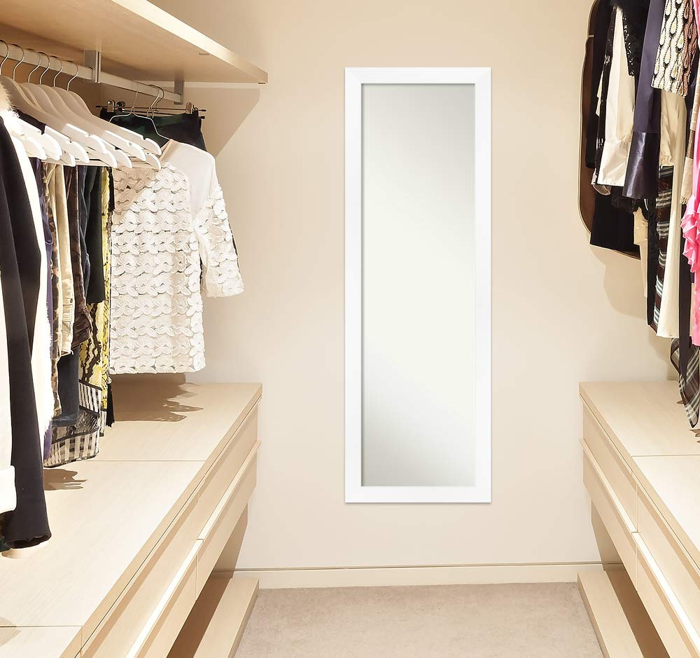 Amanti Art Cabinet White Length Full Body Door Mirror Glass Size 14x48,