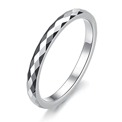 2mm womens multi faceted tungsten wedding band ring size selectable - Amazon Wedding Rings