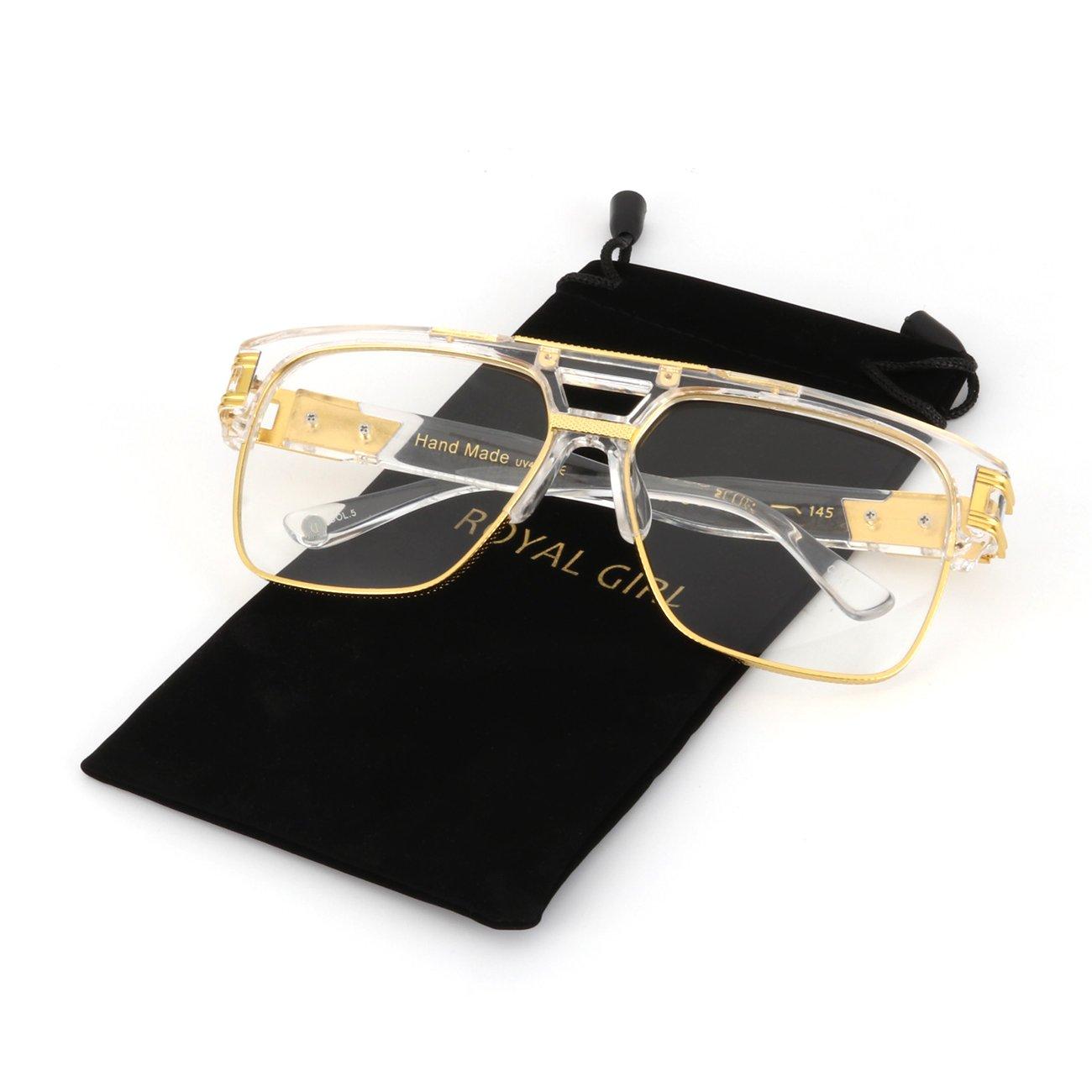 ROYAL GIRL Designer Sunglasses For Men Luxury Oversize Square Retro Classic Alloy Aviator Fashion Glasses (Clear Frame, 68)