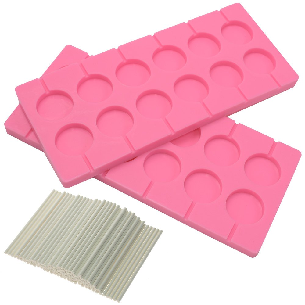 BIGTEDDY 2x 12-Capacity Round Chocolate Hard Candy Silicone Lollipop Molds with 100 count 4 inch Lollypop Sucker Sticks for Halloween Christmas Parties BT0028