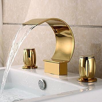 JRUIA Gold 3-Loch Waschtischarmatur Bad Wasserfall ...