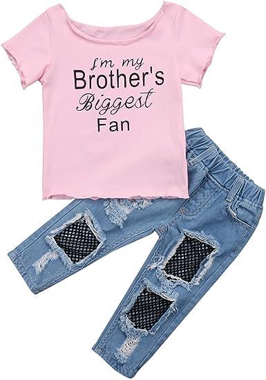 Conjuntos De Jeans Para Bebes Ninas Blusas Con Volantes Fuera Del Hombro Camisa Y Jeans Rasgados Pantalones De Mezclilla Conjunto De Pantalones Amazon Es Ropa Y Accesorios