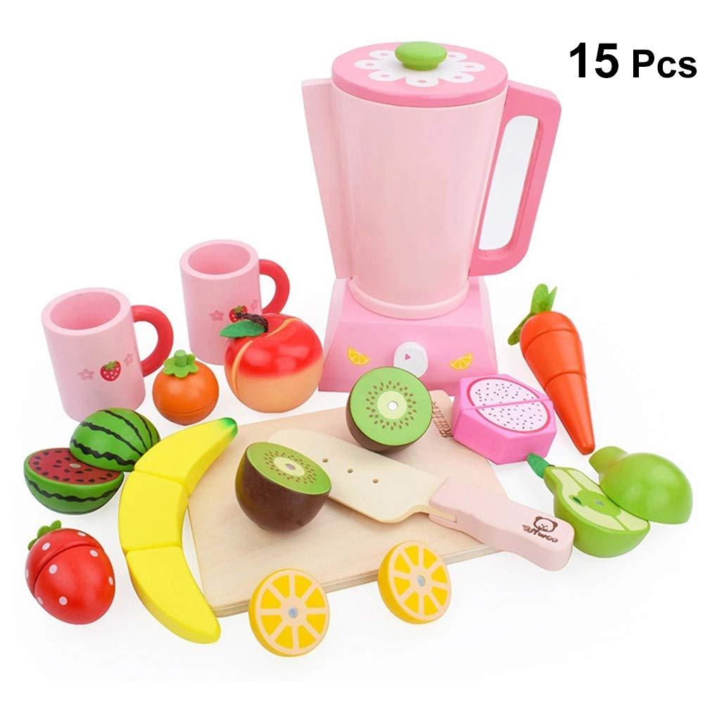 TOYANDONA - Juego de Juguetes para niños de Corte, exprimidor de Madera, Trajes con Frutas y Verduras, Juego de Alimentos para niños, niñas, niños, ...