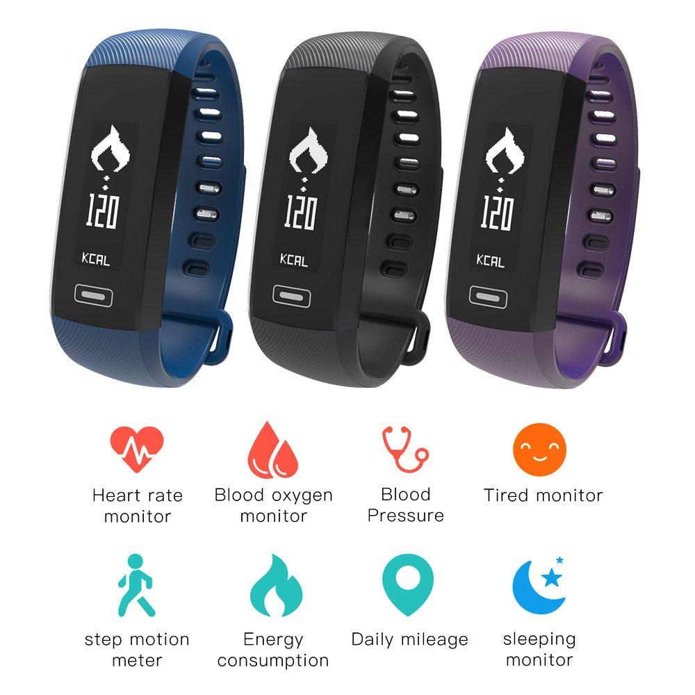 iStyle m2スマートバンドBluetoothリストバンド血圧/Blood酸素/スリープ監視/ハートレートモニター/歩数計Fitness Tracker for iOS Androidスマートフォン  ブラック B01N2O636H