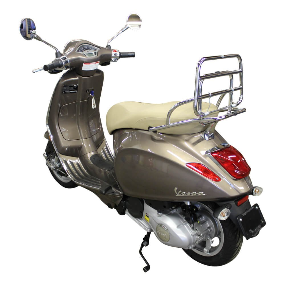 Cuppini Chrome Folding Rear Rack; Vespa Primavera and Sprint Scooters by Cuppini