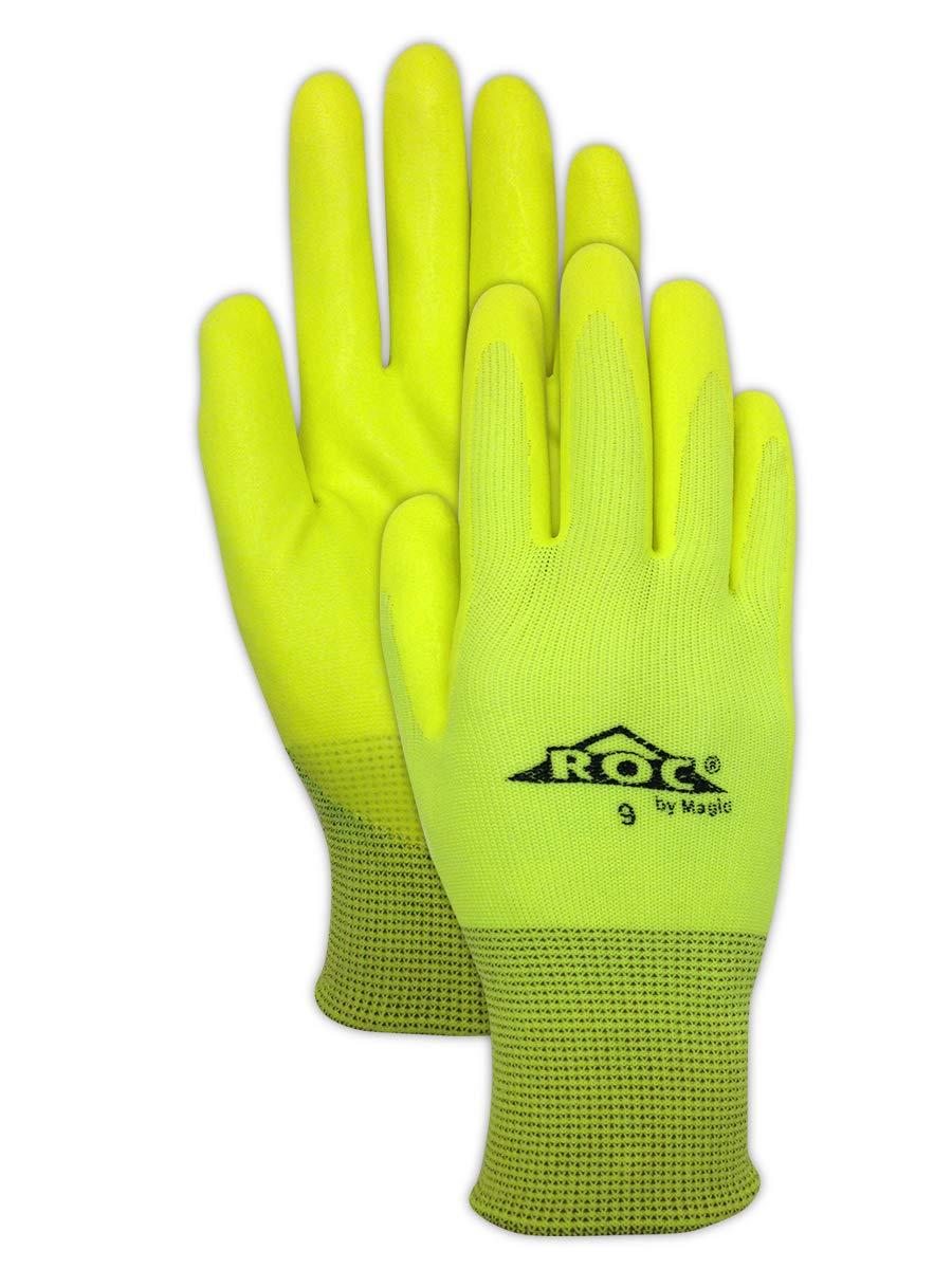 Magid Glove & Safety HV100 Magid ROC HV100 Hi-Viz Knit Gloves with Hi-Viz Micro-Foam Nitrile Palm Coating, 11