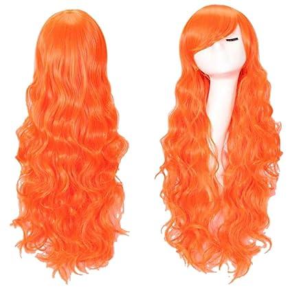 Pelucas para mujer larga rizada peluca de cabeza completa Carnaval de Halloween a prueba de calor