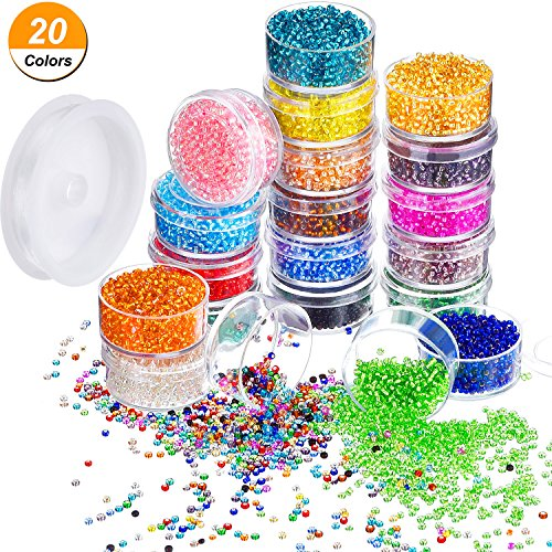 Bememo 16000 Pieces Glass Seed Beads 20 Colors 2 mm Silver Lined Pony Beads Tiny Spacer Beads in Container Box with 18 m Elastic Crystal String - Bead Glass String