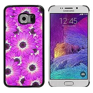 Be Good Phone Accessory // Dura Cáscara cubierta Protectora Caso Carcasa Funda de Protección para Samsung Galaxy S6 EDGE SM-G925 // Flower White Pattern Pink