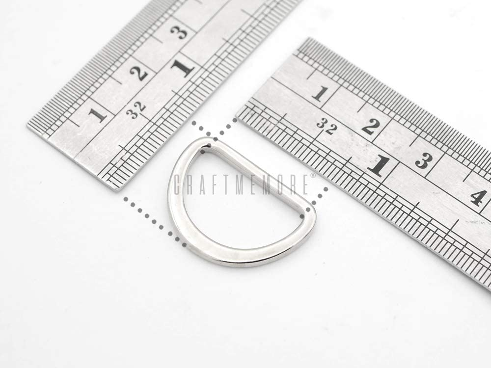 , Silver 1 1 1//4 for Purse Belts Landyards Leathercraft 10 Pack PTDM 25 mm 1 CRAFTMEMORE D Rings Molded Solid Cast Flat Metal D Ring Findings 3//4