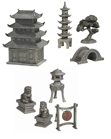 Small Worlds Complete 8pc Mini Zen Garden Figurines Pagoda Courtyard  Accessories Bundle Set