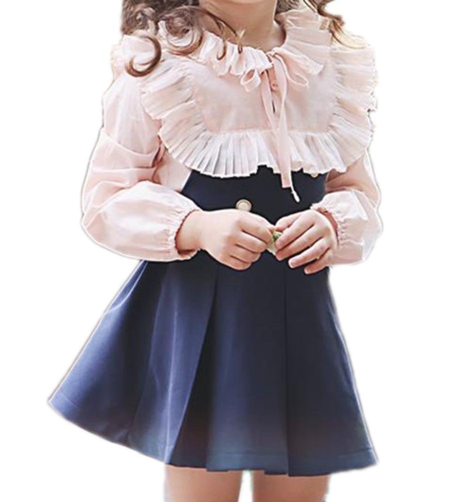 JIANLANPTT Vintage Princess Child Girls Dress Set Flounced Pink T Shirt +Suspender Skirt Navy Blue 130(7-8Y)
