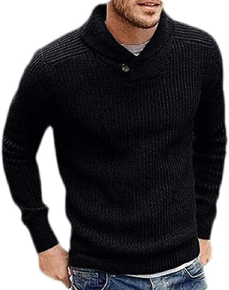 Lutratocro Mens V-Neck Slim Fit Jumper Pullover Knit Long-Sleeve Sweaters