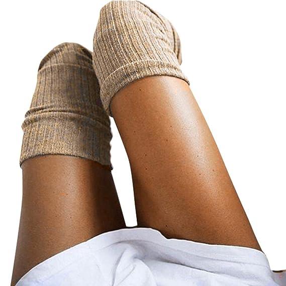 OXOK Calcetines de Mujer Sobre la Rodilla Calcetines de Algodón Larga (Caqui)